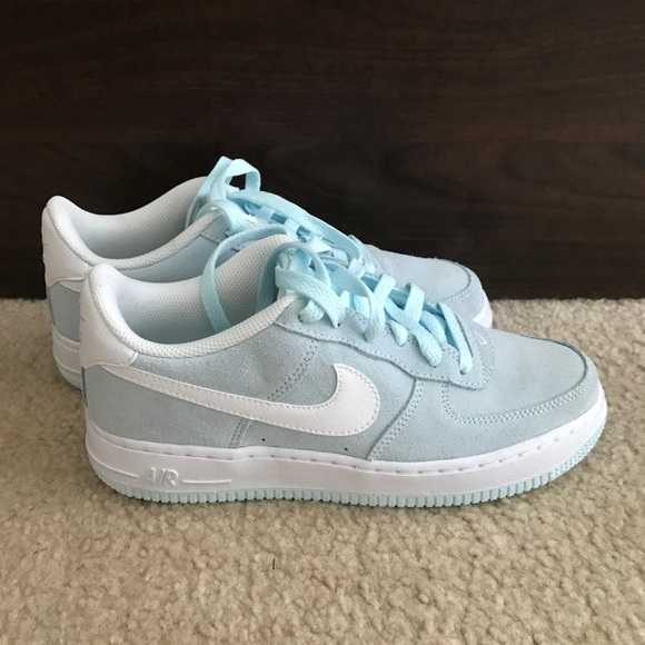 Nwt Nike Air Force 1 light blue suede sneakers 031c23da0